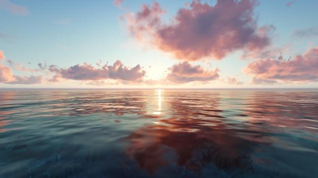 Plaża o zachodzie słońca z chmurami