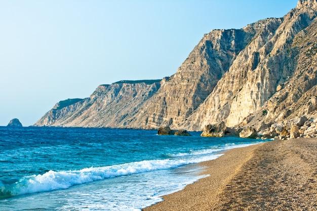 Plaża platia amos, kefalonia - grecja