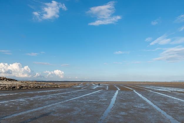 Plaża pod błękitnym niebem i białymi chmurami, żyzna czarna ziemia