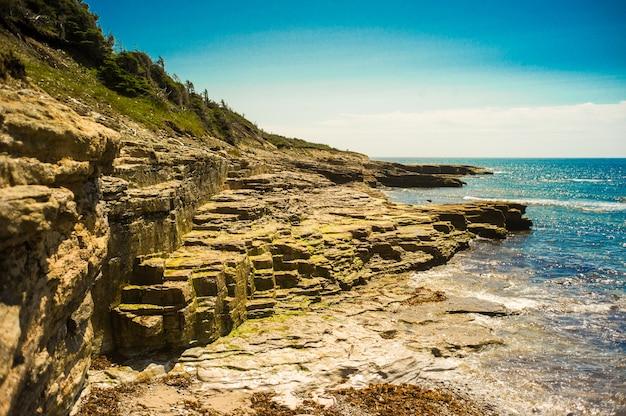 Plaża przed dużymi klifami i skałami?