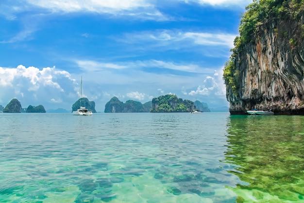 Plaża railay w tajlandii, prowincja krabi, widok na tropikalne plaże railay i pranang ze skałami i palmami, wybrzeże morza andamańskiego