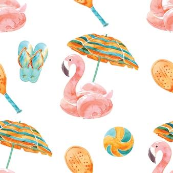 Plaża wakacje akwarela bezszwowe wzór. letni tropikalny raj. wakacje nad morzem. słoneczny dzień. różowy flaming