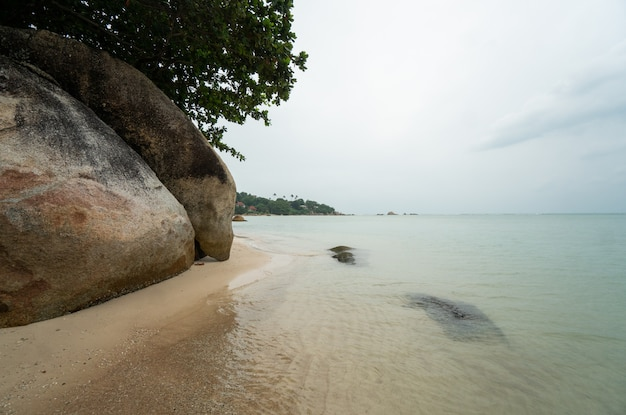 Plaża ze skałami na tropikalnej wyspie