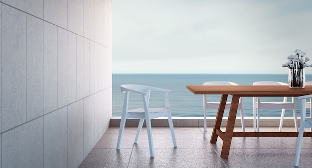 Plażowa jadalnia na dennym widoku / 3d renderingu