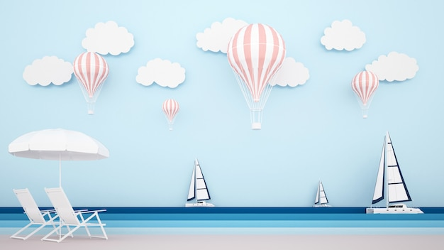 Plażowe łóżko na plaży z żaglówką na morzu i balony na niebie