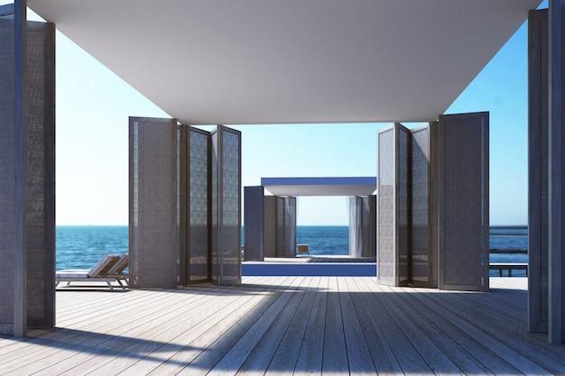 Plażowy utrzymanie na dennym widoku 3d renderingu