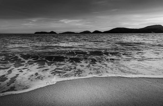 Plażowy zmierzch lub wschód słońca z chmurnym niebem w wieczór świetle, czarny i biały i monochromu styl