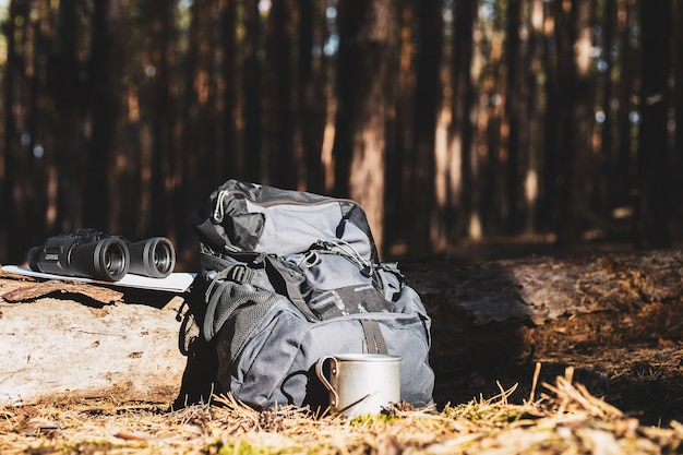 Plecak turystyczny, czapka, lornetka i mapa na kłodzie w lesie