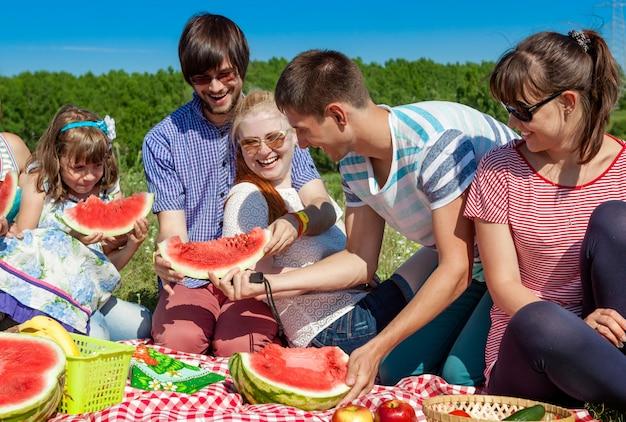 Plenerowy grupowy portret szczęśliwa firma ma pinkin na zielonej trawie w parku i cieszy się arbuza