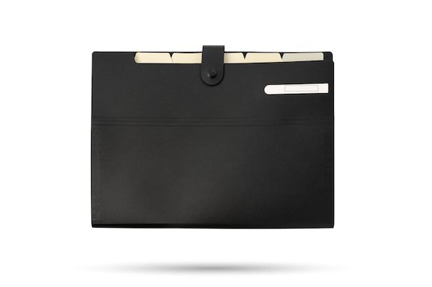 Plik folderu w kolorze czarnym na izolowanym białym tle