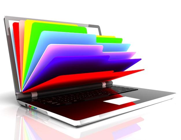 Plik w bazie danych - laptop i foldery