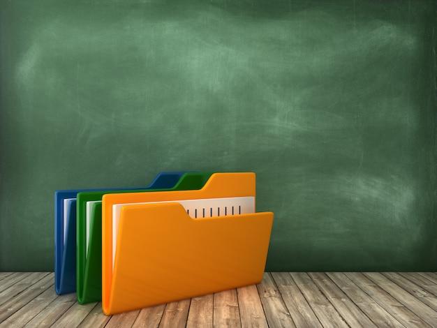 Pliki folderów komputerowych na tablicy