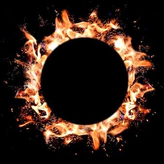 Płomienie ognia okrągłe ramki na ciemnym tle. skopiuj miejsce, miejsce na tekst