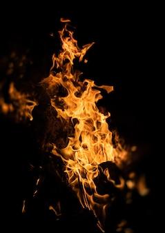 Płomienie ogniska w nocy. płomienie ognia na czarnym tle