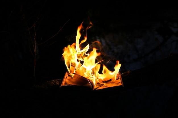 Płonąca książka w ogniu w nocy. ludzie nie lubią czytać. problemy intelektualne.