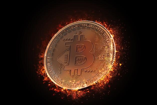 Płonąca moneta bitcoin
