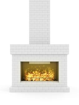 Płonący kominek z cegły z drewnianymi bali
