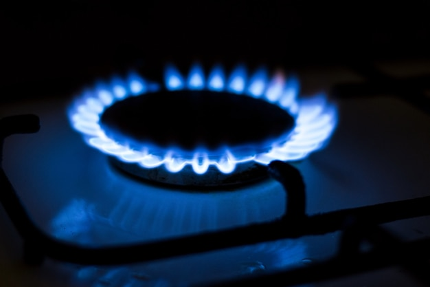 Płonący niebieski gaz. kuchenka gazowa. temat wzrostu cen gazu