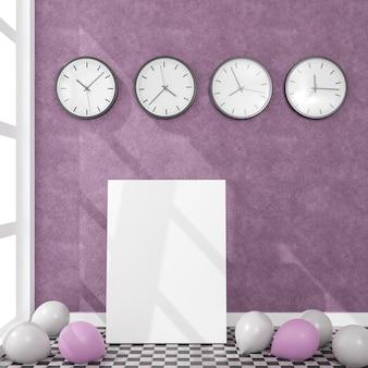 Płótno przedstawiające balony i zegary ścienne w świetle dziennym