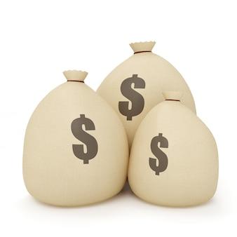 Płótno torby z pieniędzmi na białym tle