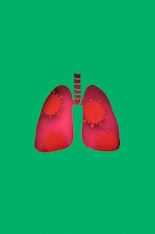 Płuca zrobione z papieru z wirusami