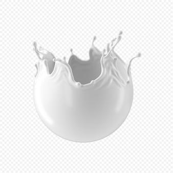 Plusk białego mleka na przezroczystym tle