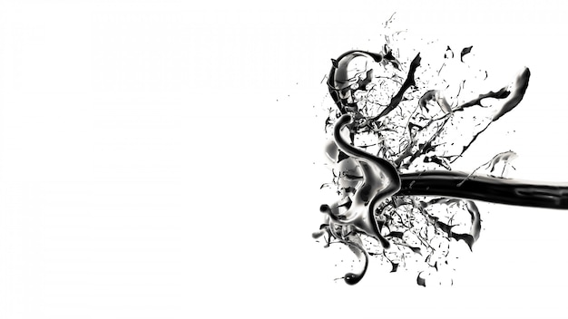 Plusk czarnej cieczy. 3d ilustracji