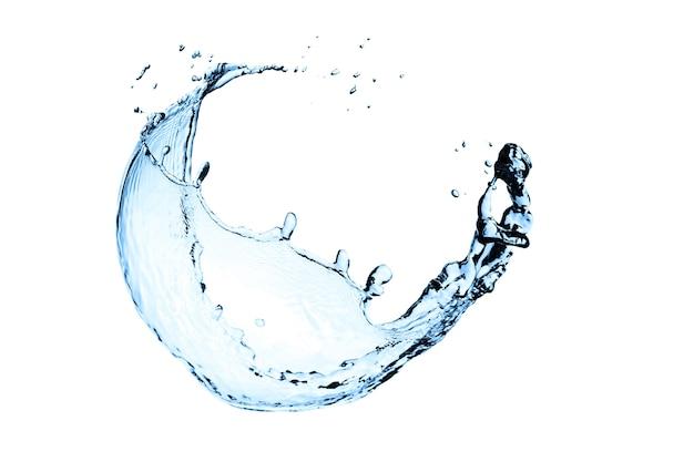 Plusk wody na białym tle