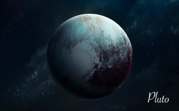 Pluton. niesamowita jakość planet układu słonecznego. doskonały obraz naukowy w 5k. elementy tego zdjęcia dostarczone przez nasa