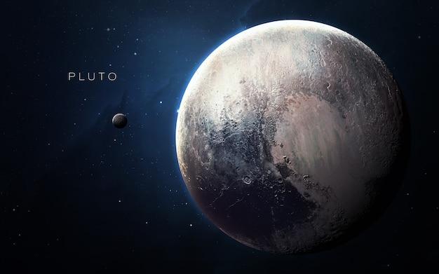 Pluton w przestrzeni, ilustracja 3d. .