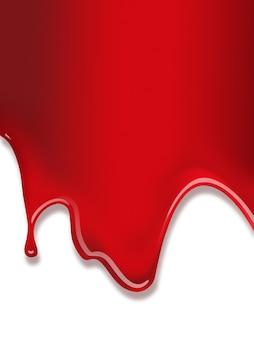 Płynąca czerwona farba na białym tle