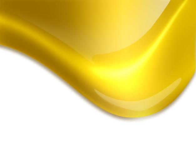 Płynący złoty zbliżenie kropla na białym tle