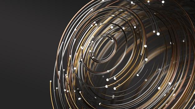 Płynnie płynące cząsteczki roją się świecącymi złotymi śladami. ciepłe i zimne kolory