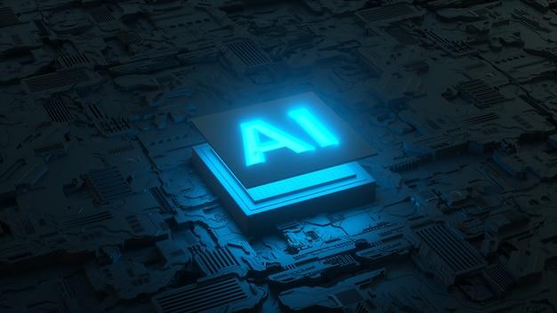 Płytka drukowana i mikroprocesor ai, sztuczna inteligencja cyfrowego człowieka. renderowania 3d
