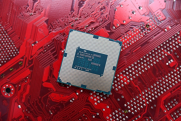Płytka drukowana. technologia. koncepcja procesorów centralnych procesorów komputerowych. chip cyfrowy płyty głównej. ai. ścieśniać
