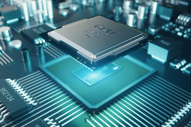 Płytka drukowana. technologia tło. koncepcja procesorów centralnych procesorów komputerowych. chip cyfrowy płyty głównej. tło nauki technologii. zintegrowany procesor komunikacyjny. ilustracja 3d