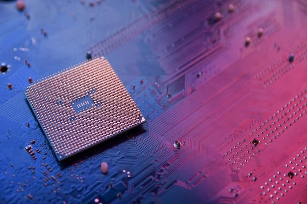Płytka drukowana. tło technologii. koncepcja procesora centralnego komputera. cyfrowy chip płyty głównej. ai. zbliżenie