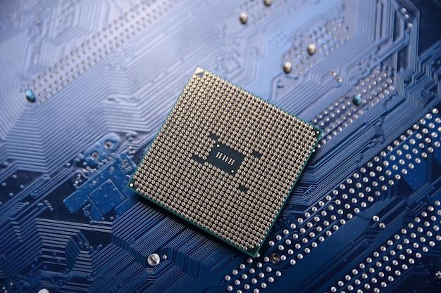 Płytka drukowana. tło technologii. koncepcja procesora centralnego komputera.cyfrowy układ płyty głównej.ai.close up