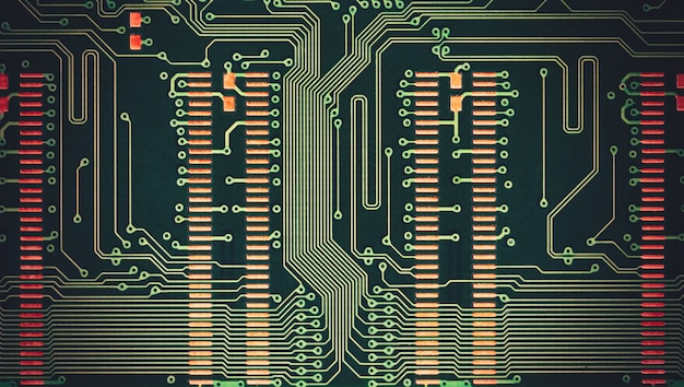 Płytka elektroniczna z bliska. abstrakcyjny wzór tła.