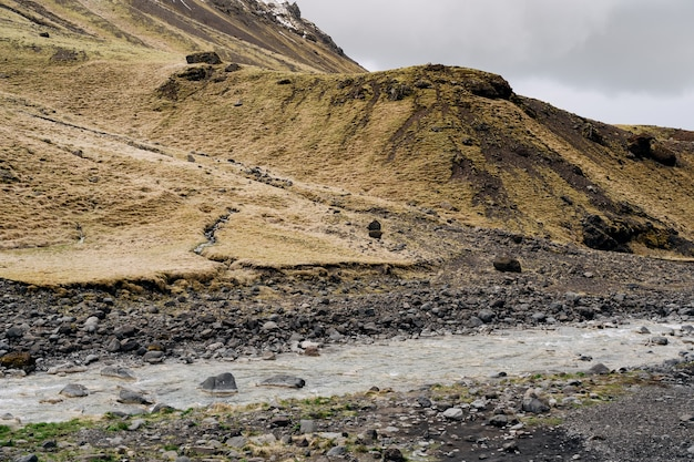 Płytka górska rzeka płynie przed górą z żółtą trawą w islandii
