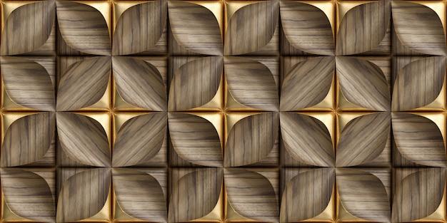 Płytki 3d wykonane ze szlachetnego drewna ze złotymi elementami dekoracyjnymi