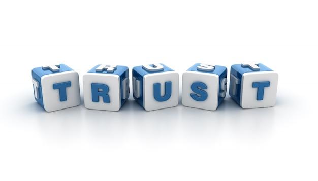 Płytki bloków ze słowem zaufanie