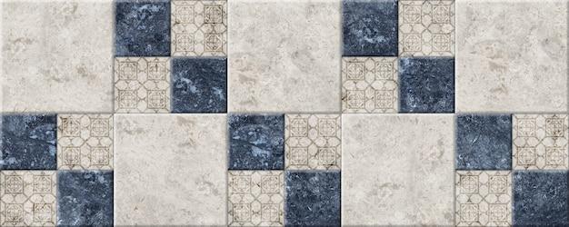 Płytki ceramiczne w geometryczny wzór z fakturą naturalnego granitu.