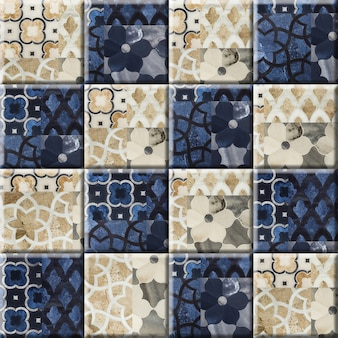 Płytki podłogowe i ścienne z marmuru w kwiatowy wzór. płytki ceramiczne porcelanowe. element do projektowania wnętrz, tekstury tła.