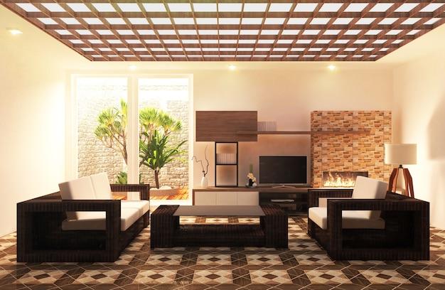 Płytki podłogowe z podłóg drewnianych na ścianach, z drewnianymi szafkami i żywymi dekoracjami