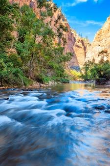 Płytkie bystrza rzeki virgin river narrows w parku narodowym zion - utah