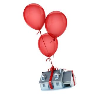 Pływające balony trzymające dom z zawiązaną kokardą