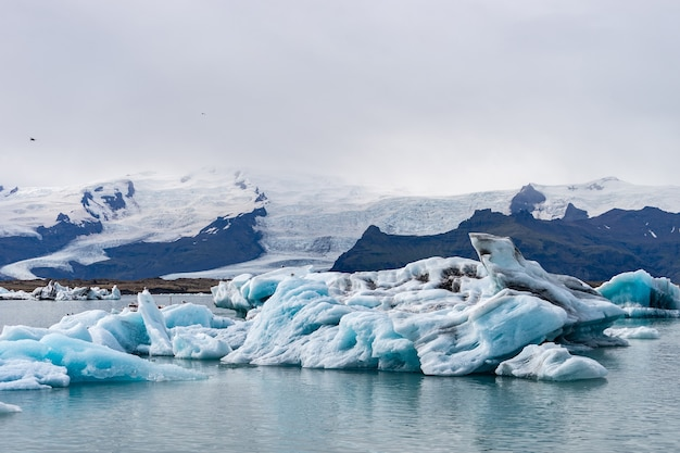 Pływające góry lodowe w lagunie jokulsarlon, islandia