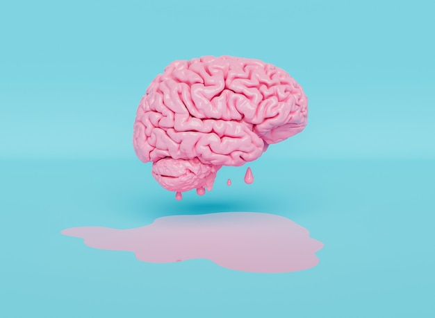 Pływający różowy mózg topiący się na węglu drzewnym i pastelowym niebieskim tle. renderowanie 3d
