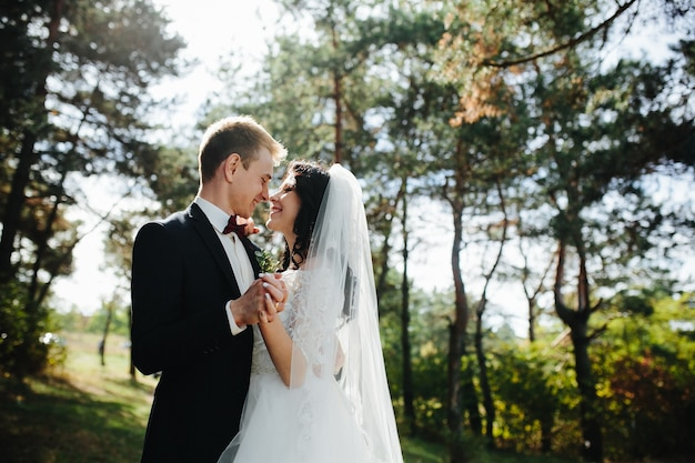 Po prostu żonaty para trzymając się za ręce uśmiechnięte
